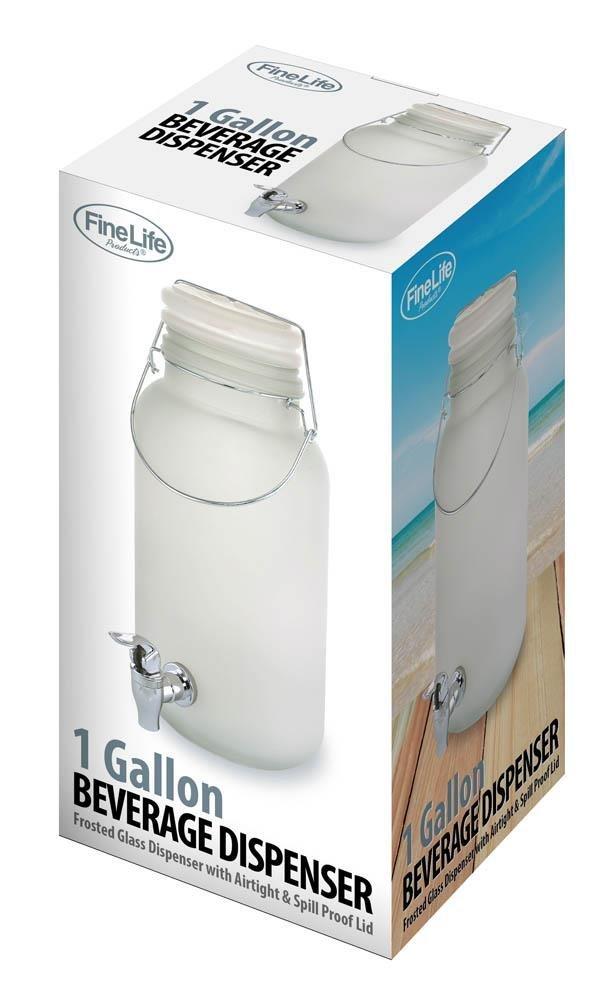 Image 0 of White Frosted Glass Lemonade, Sun Tea Beverage Dispenser Holds 1 Gallon