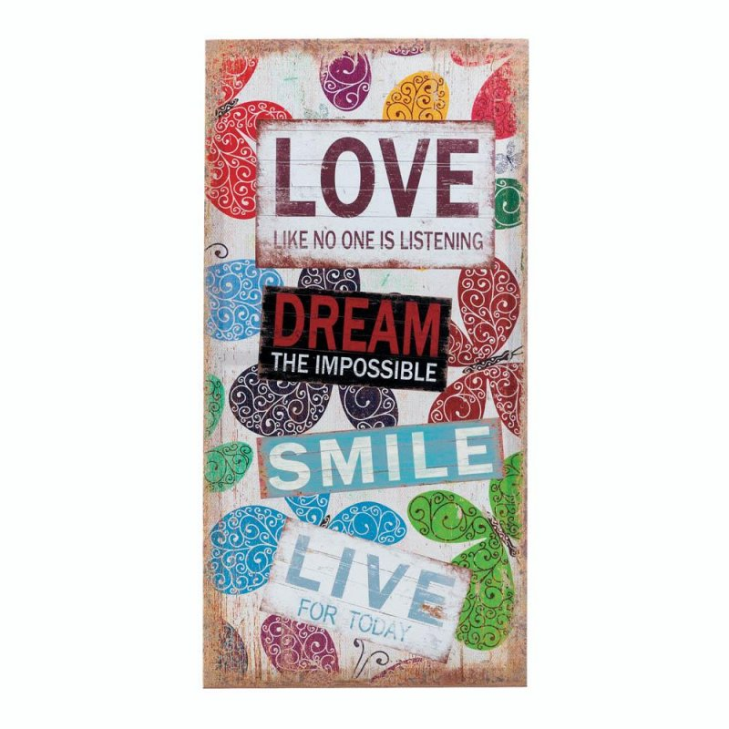 Image 0 of Love, Dream, Smile, Live Stickers with Butterflies Canvas Wall Art Plague, Sign