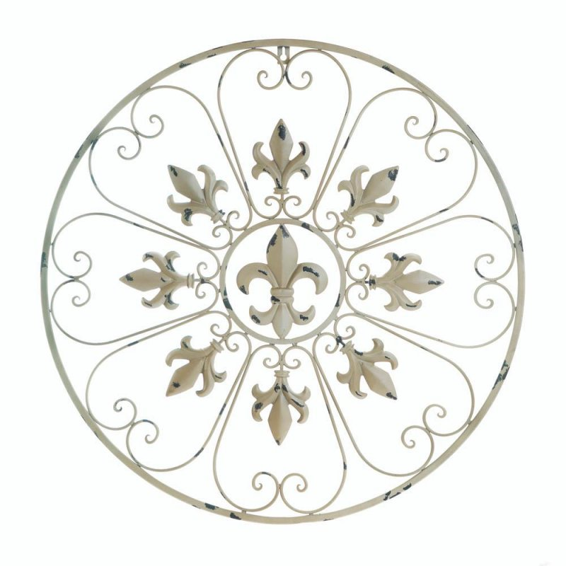Image 0 of Antiqued Ivory Iron Circular Fleur de Lis & Heart Shaped Scrolls Wall Decor
