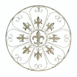 Antiqued Ivory Iron Circular Fleur de Lis & Heart Shaped Scrolls Wall Decor