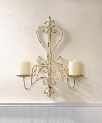 Antiqued Ivory Fleur de Lis Iron Pillar Wall Sconce Holds 2 Candles