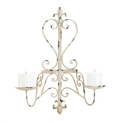 Antiqued Ivory Fleur de Lis Iron Pillar Wall Sconce Holds 2 Candles