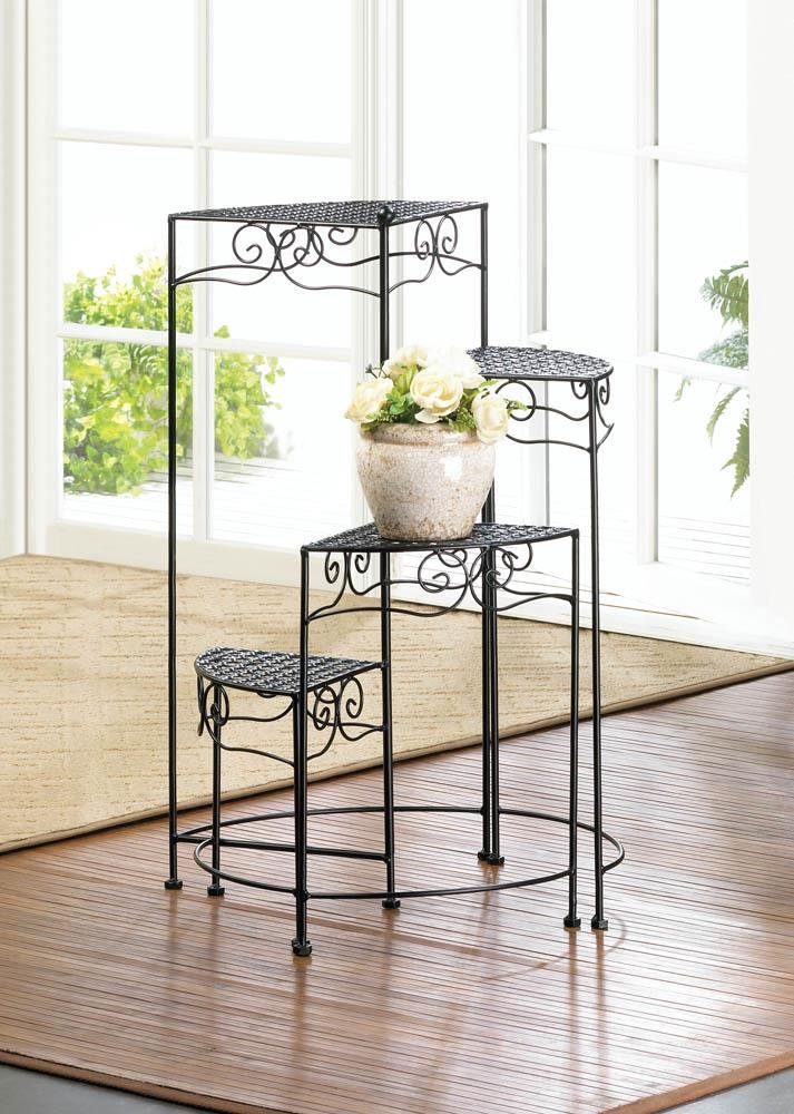 Image 0 of Black Iron 4-Tier Plant Stand with Flourishes & Triangular Platforms