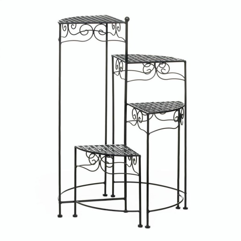 Image 1 of Black Iron 4-Tier Plant Stand with Flourishes & Triangular Platforms