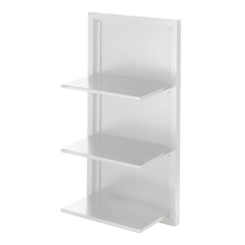 Image 2 of Contemporary White Three Shelf Wooden Folding Wall Shelves