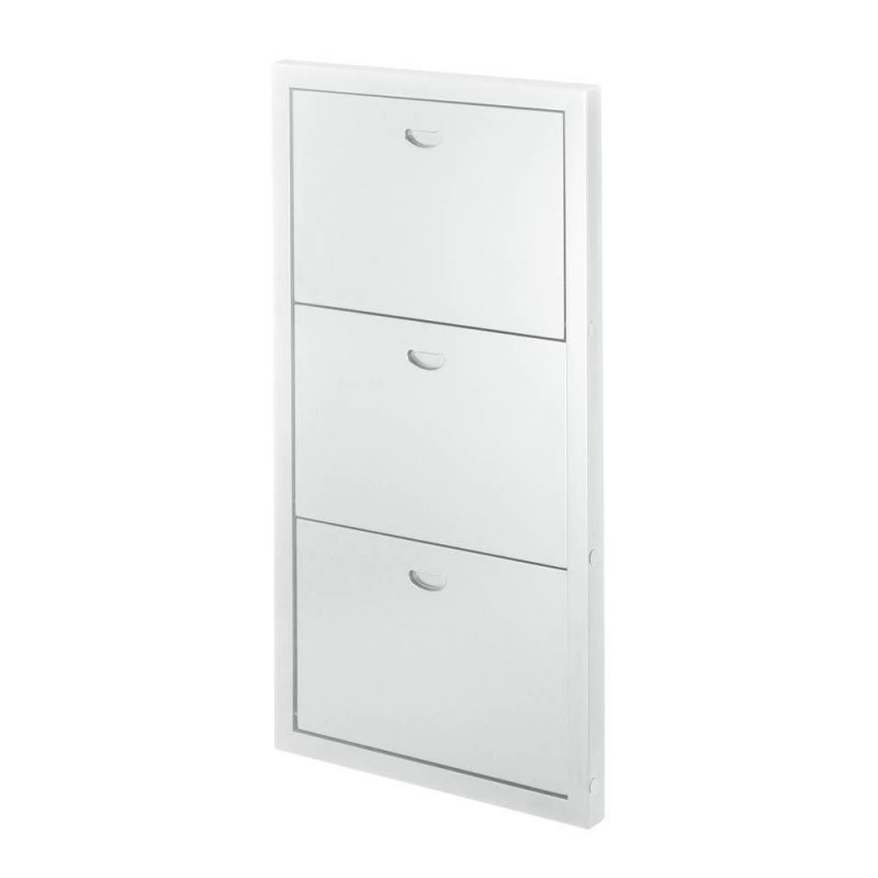Image 3 of Contemporary White Three Shelf Wooden Folding Wall Shelves