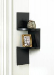 Black Contemporary 2-Tier Zig Zag Corner Wall Shelves