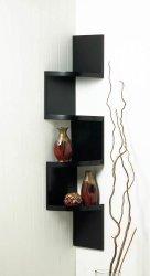 Black Contemporary 4 -Tier Zig Zag Corner Wall Shelves