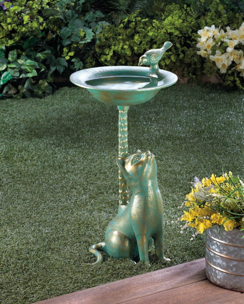 Image 0 of Green & Gold Finish Cat Aluminum Birdbath