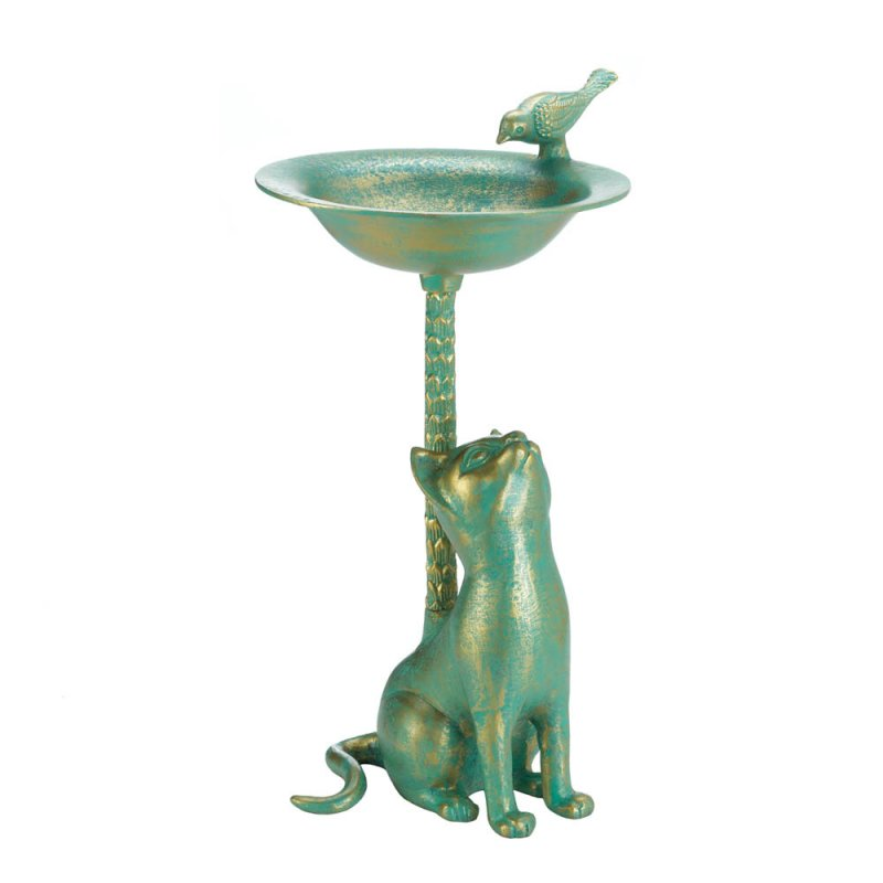 Image 1 of Green & Gold Finish Cat Aluminum Birdbath