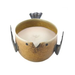 Key Lime Pie Scented Soy Wax Candle in Iron Golden Brown Birdie Holder
