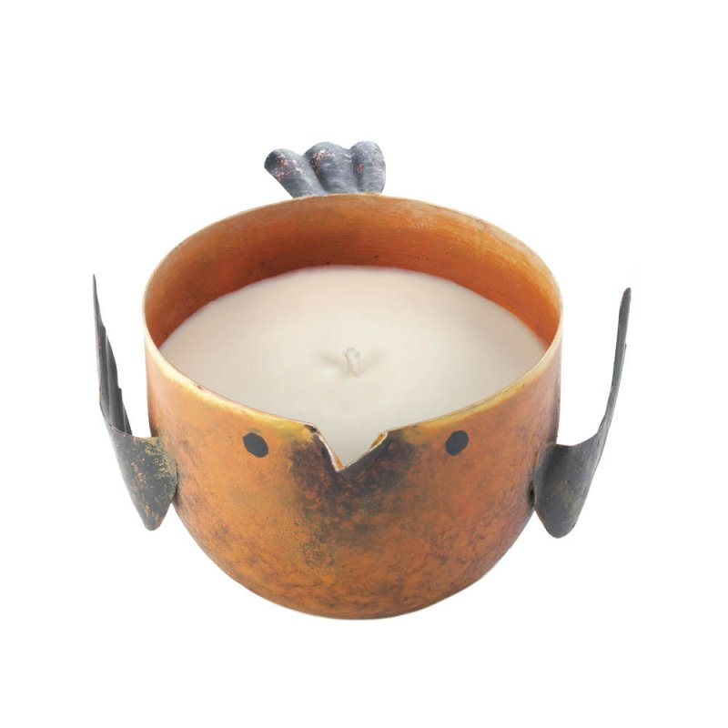 Image 0 of Peach & Grapefruit Scented Soy Wax Candle in Iron Rustic Orange Birdie Holder