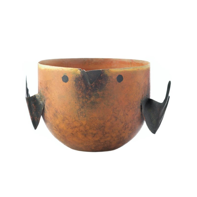 Image 1 of Peach & Grapefruit Scented Soy Wax Candle in Iron Rustic Orange Birdie Holder