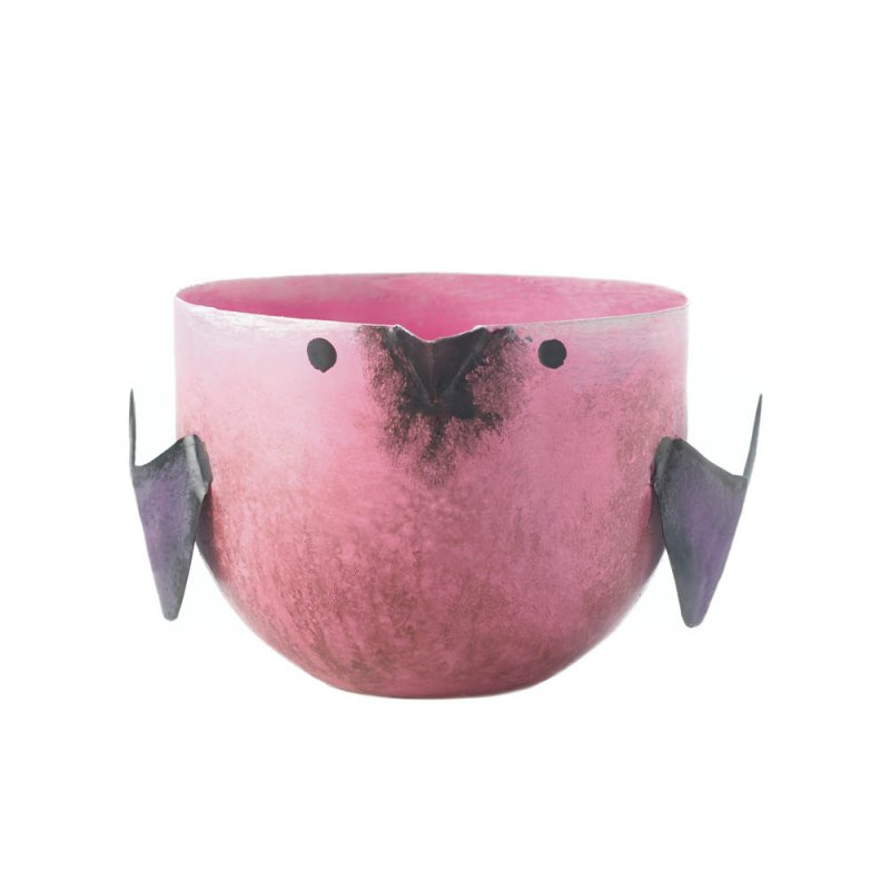 Image 2 of Pink Berry Sorbet Scented Soy Wax Candle in Iron Pink Birdie Holder