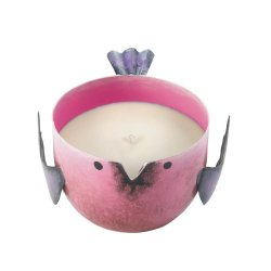 Pink Berry Sorbet Scented Soy Wax Candle in Iron Pink Birdie Holder