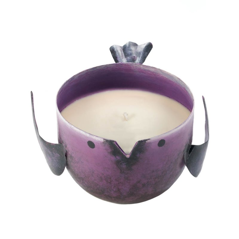 Image 0 of Pomegrante Scented Soy Wax Candle in Iron Purple Birdie Holder