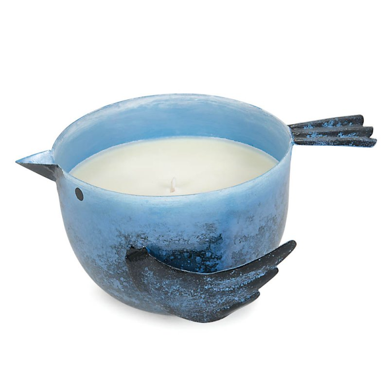 Image 1 of Coastal Water Scented Soy Wax Candle in Iron Blue Birdie Holder