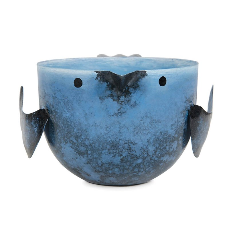 Image 2 of Coastal Water Scented Soy Wax Candle in Iron Blue Birdie Holder