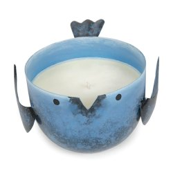 Coastal Water Scented Soy Wax Candle in Iron Blue Birdie Holder