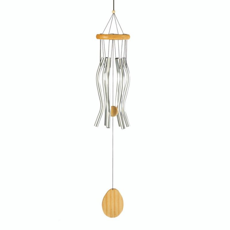 Image 0 of Classic Pine Wood & Wavy Aluminum Wind Chime 26