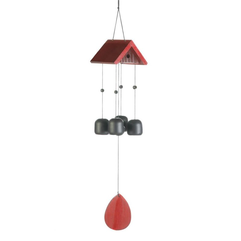Image 0 of Red Wooden Birdhouse Roof with Iron Bells Wind Chime