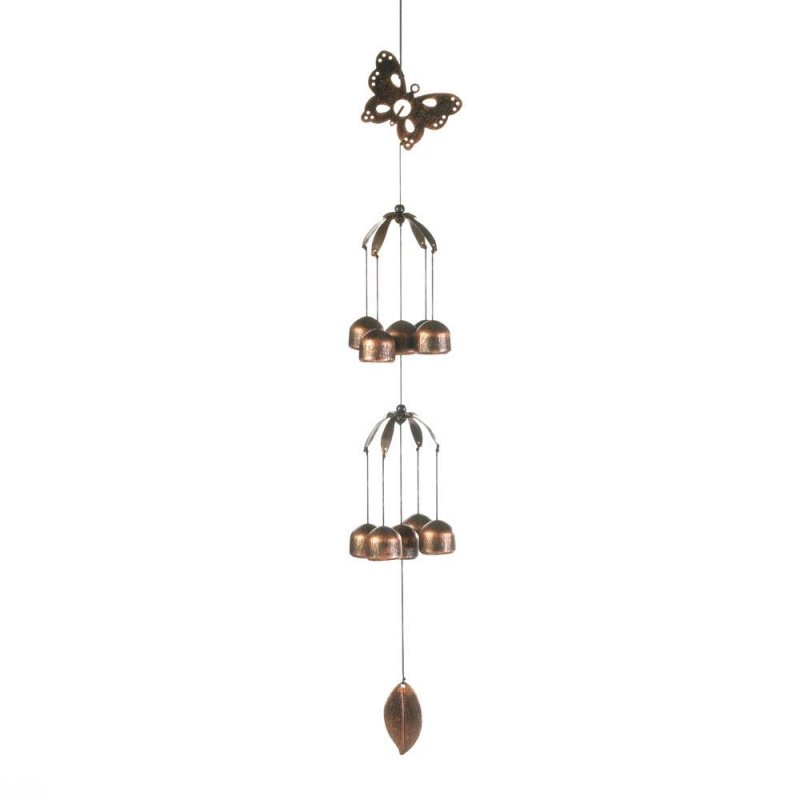 Image 0 of Butterfly Double Tier Pine Wood & Iron Bell Wind Chime