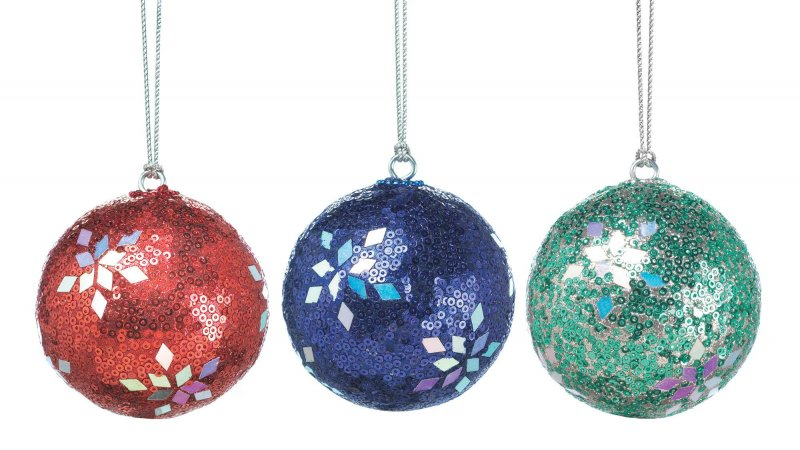 Image 0 of Set of 3 Red, Blue & Green Sequins & Sparkle Holiday Dazzle Christmas Ornaments