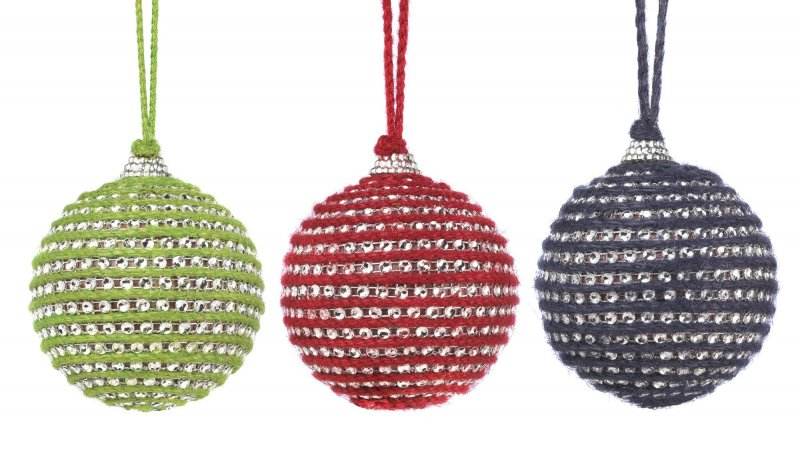 Image 0 of Set of 3 Red, Blue & Green Faceted Crystals set in Jute Christmas Ornaments