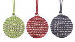 Set of 3 Red, Blue & Green Faceted Crystals set in Jute Christmas Ornaments