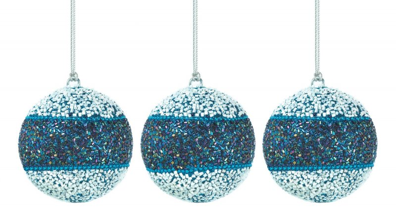 Image 0 of Set of 3 Blue & White Faceted Beaded Holiday Christmas Ornaments