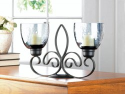 Black Fleur De Lis Candle Stand with 2 Smoked Glass Candle Cups