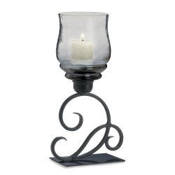 Black Scrolling Candle Holder with Smoked Glass Candle Cup
