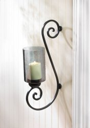 Black Iron Scrollwork with Smoked Glass Cup Candle Wall Sconce