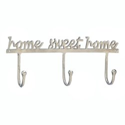 Silver Aluminum Home Sweet Home Coat, Hat Wall Hooks