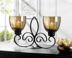 Black Fleur De Lis Candle Stand with 2 Iridescent Finish Glass Candle Cups