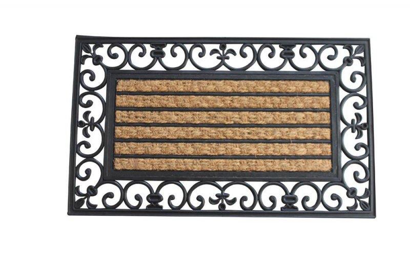 Image 0 of Brown Coir Fiber with a Black Rubber Fleur De Lis Border Striped Door Mat