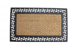 Brown Coir Fiber with a Black Rubber Geometric Border Welcome Door Mat