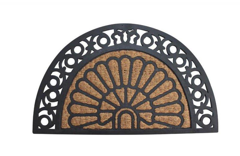 Image 0 of Brown Coir Fiber with a Black Rubber Fan Design Half Moon Welcome Door Mat