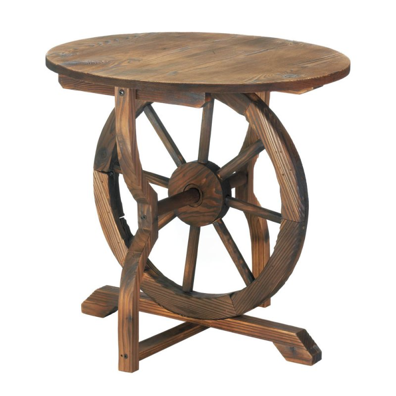 Image 0 of Rustic Chic Country Wagon Wheel Base w/ Round Top Side, Accent, End Patio Table