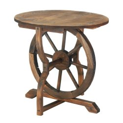 Rustic Chic Country Wagon Wheel Base w/ Round Top Side, Accent, End Patio Table