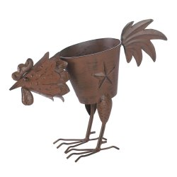 Iron Pecking Rooster Lone Star Planter Weathered Brown Finish