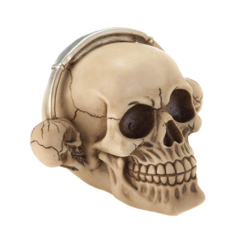 Image 0 of Rockin Grinning Skull with Skull Shaped Headphones Figurine