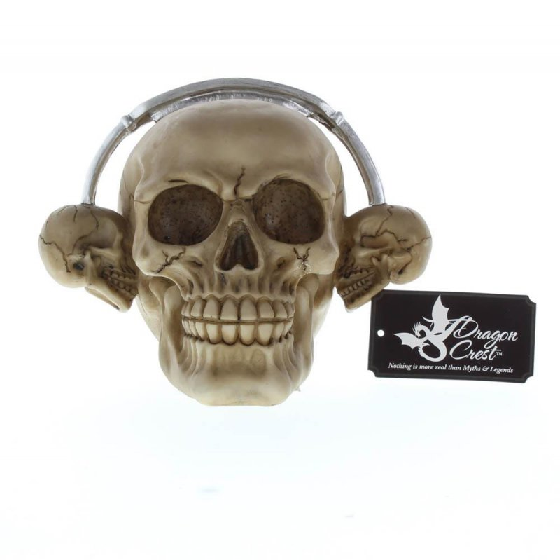 Image 2 of Rockin Grinning Skull with Skull Shaped Headphones Figurine