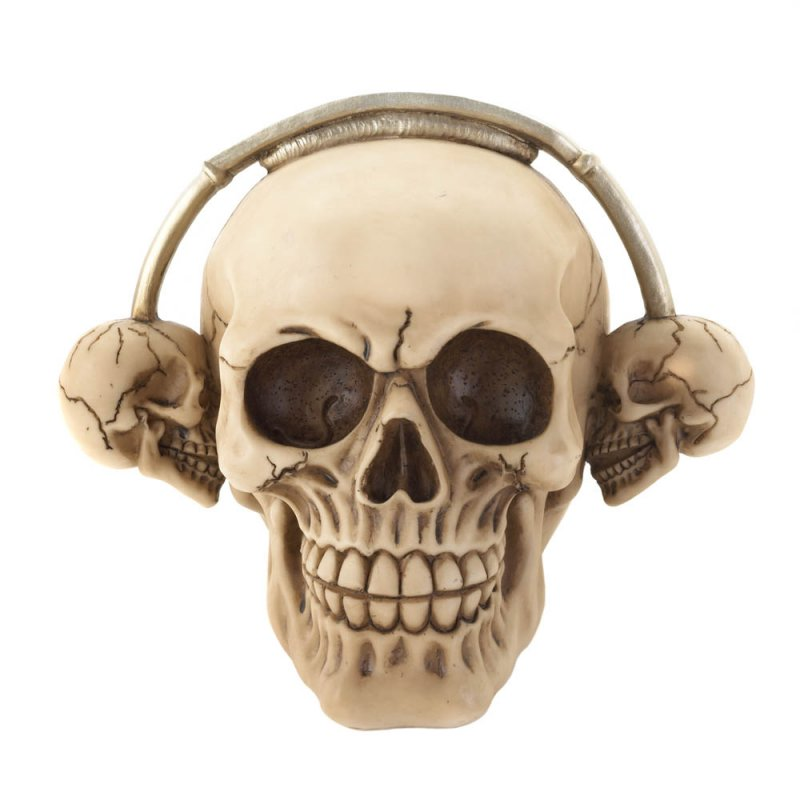 Image 1 of Rockin Grinning Skull with Skull Shaped Headphones Figurine