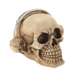 Rockin Grinning Skull with Skull Shaped Headphones Figurine