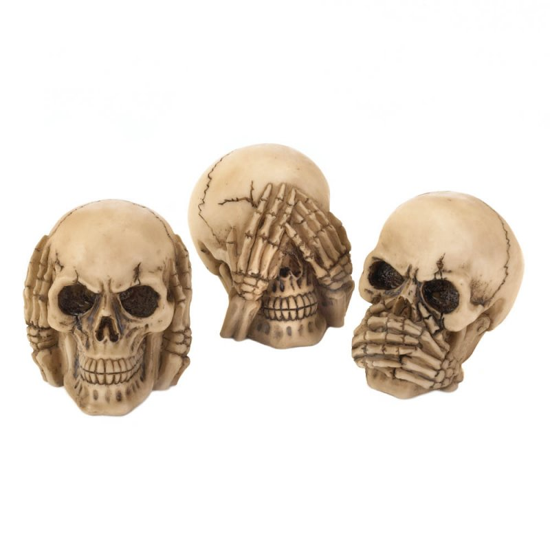 Image 1 of Hear, See, Speak No Evil Skull Figurines