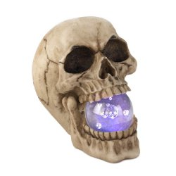 Ghoulish Skull with LED Light Up Orb in Mouth