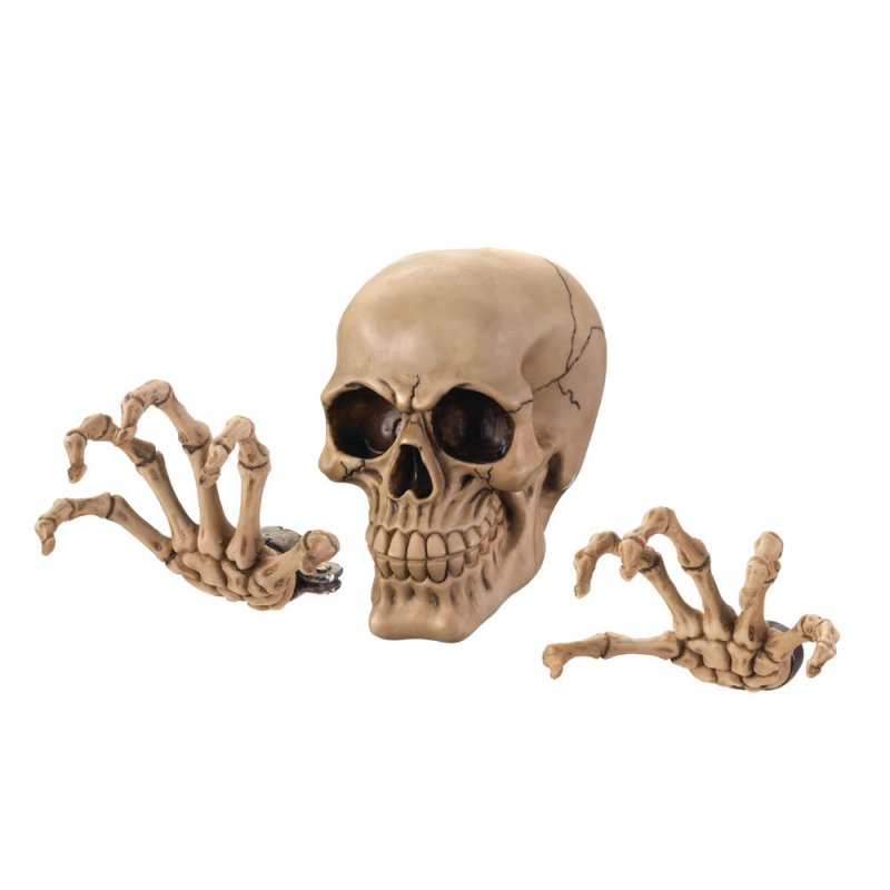 Image 1 of 3-Piece Skull & Skeleton Hands Wall Decor with 3D Effect