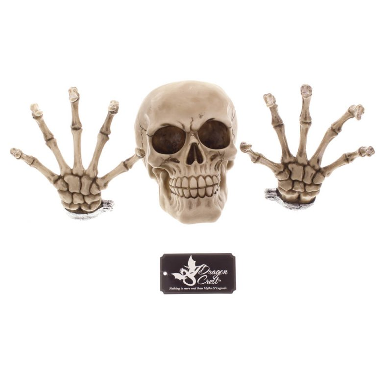 Image 2 of 3-Piece Skull & Skeleton Hands Wall Decor with 3D Effect