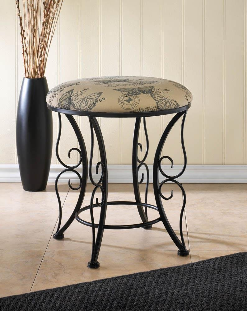 Image 0 of Butterfly Print Sponge Canvas Stool with Black Butterfly Wing Flourishes Base